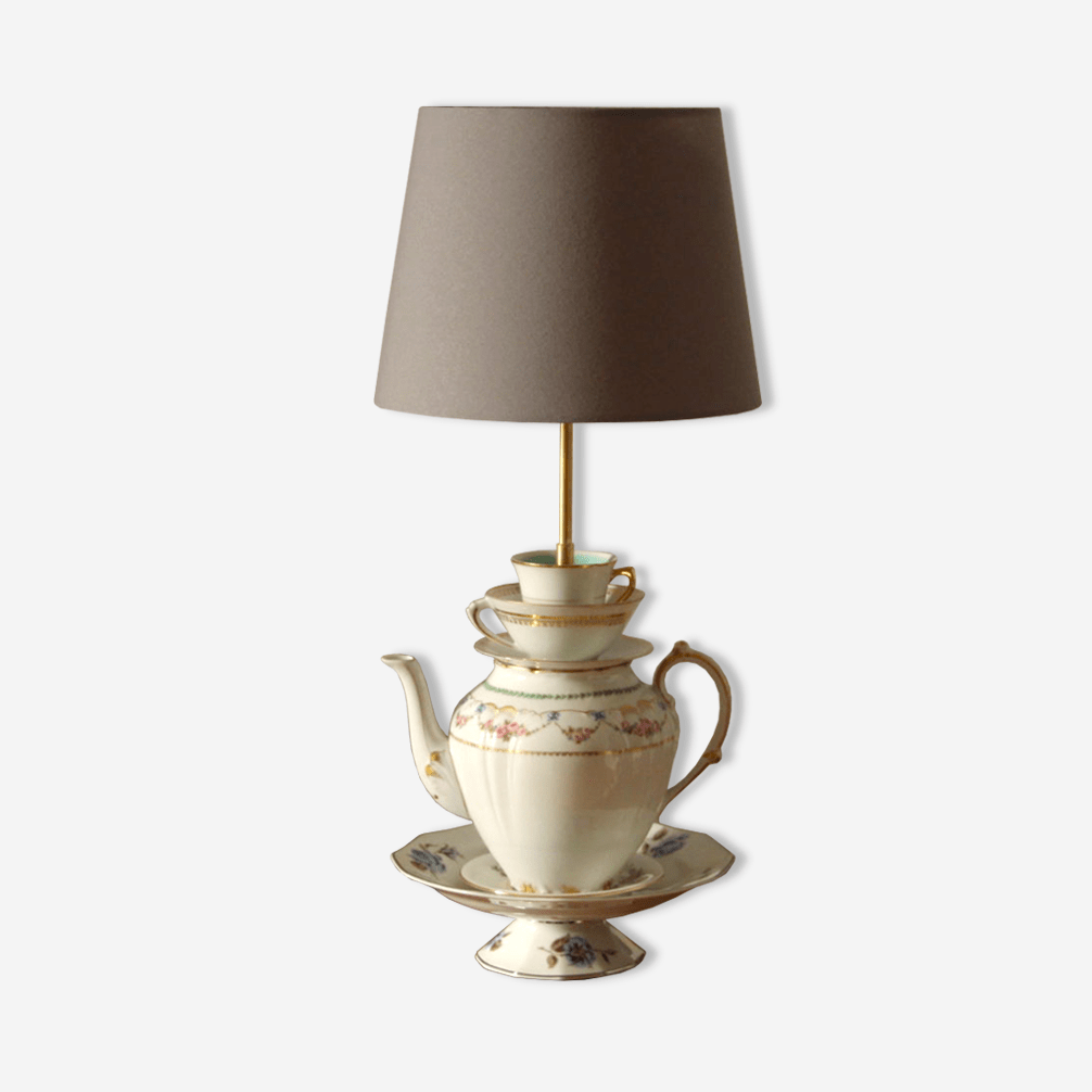Porcelaine Vintage Tasse AncienneDe Table En Lampe ZXPiuk